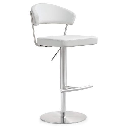 Tov Furniture - Cosmo White Steel Adjustable Barstool