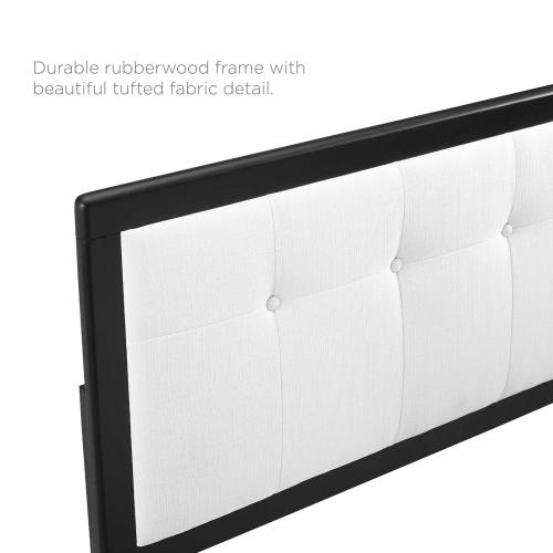Draper Tufted Queen Fabric and Wood Headboard in Black White