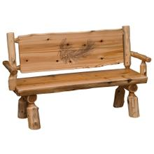 Bench with back and arms - 48-inch - Natural Cedar - Wood Seat