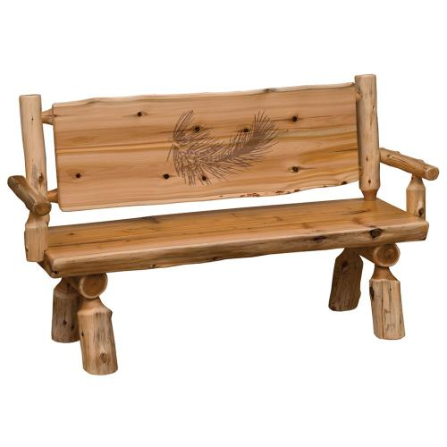 Bench with back and arms - 60-inch - Natural Cedar - Wood Seat