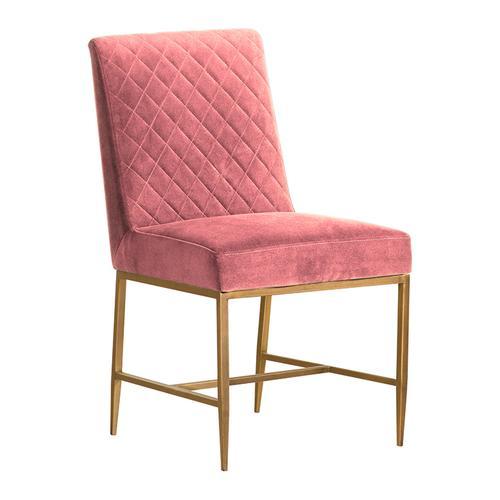 Armen Living - Memphis Pink Velvet and Antique Brass Accent Dining Chair- Set of 2