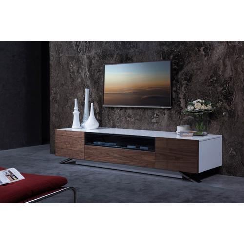 Modrest Gillian Contemporary White & Walnut TV Stand