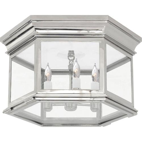 Visual Comfort CHC4126PN-CG E. F. Chapman Club 3 Light 16 inch Polished Nickel Flush Mount Ceiling Light in Clear Glass