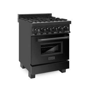 Zline KitchenZLINE 24 in. Professional Dual Fuel Range in Black Stainless Steel (RAB-24)