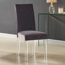 View Product - Armen Living Dalia Modern and Contemporary Dining Chair in Gray Velvet with Acrylic Legs - Set of 2