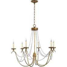 Visual Comfort CHC1415AB-SG E. F. Chapman Marigot 6 Light 33 inch Antique-Burnished Brass Chandelier Ceiling Light in Seeded Glass
