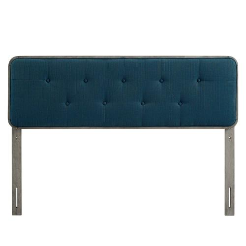 Collins Tufted Full Fabric and Wood Headboard in Gray Azure