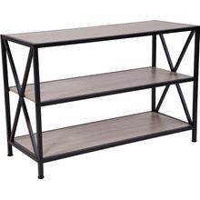"Product Image - Chelsea Collection 3 Shelf 26""H Cross Brace Bookcase in Sonoma Oak Wood Grain Finish"