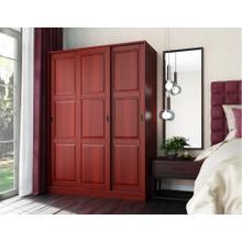 5672 - 100% Solid Wood 3-Sliding Door Wardrobe, Mahogany
