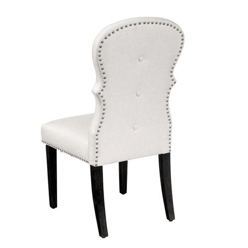 Upholstered Buttoned Back Dining Chair in Woven White