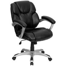 View Product - Mid-Back Black LeatherSoft Layered Upholstered Executive Swivel Ergonomic Office Chair with Silver Nylon Base and Arms