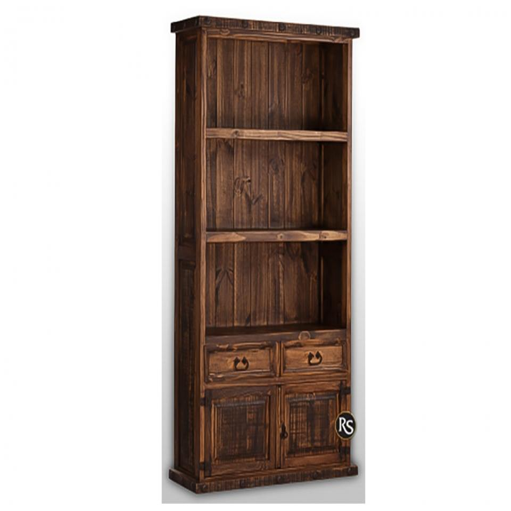 See Details - Laredo Distressed 2-Drawer 2-Door Bookcase