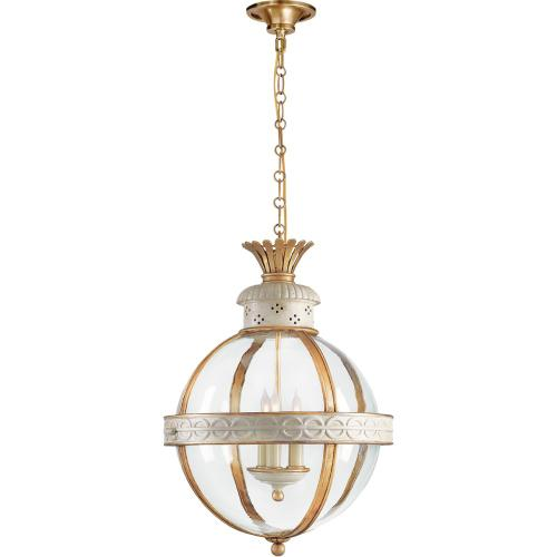 Visual Comfort CHC2111AW-CG E. F. Chapman Crown Top 3 Light 15 inch Antique White Paint Foyer Pendant Ceiling Light in Clear Glass