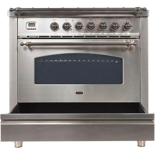 Ilve - Nostalgie 36 Inch Dual Fuel Natural Gas Freestanding Range in Stainless Steel with Bronze Trim