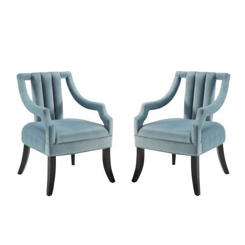 Harken Accent Chair Performance Velvet Set of 2 in Light Blue