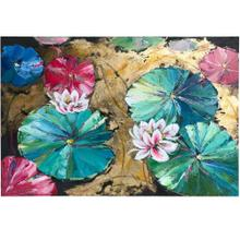 See Details - LOTUS LINGER  HAND PAINTED  32in X 47in  Lily Pads In Bold Color Hand Painted Canvas