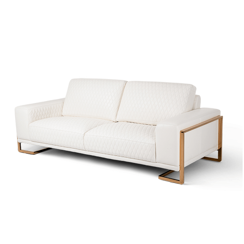 Gianna Leather StandardSofa in White RoseGold