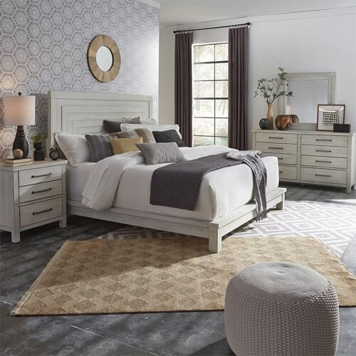 Queen Platform Bed, Dresser & Mirror, N/S