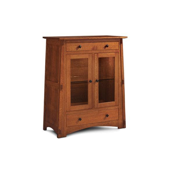 McCoy 2-Door Dining Cabinet, 2 Doors with Beveled Glass Doors and Ends