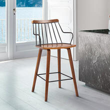 "Micah Modern 26"" Counter Height Wood and Metal Stool with Walnut Finish"