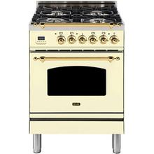 Nostalgie 24 Inch Dual Fuel Natural Gas Freestanding Range in Antique White with Brass Trim