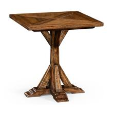 Country living style walnut square side table