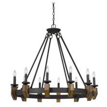 60W X 12 Cruz Metal/Wood Chandelier