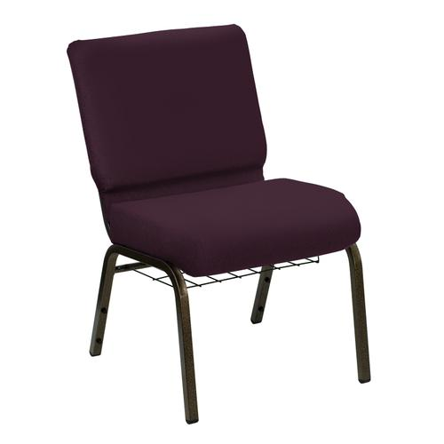 Wellington Amethyst Upholstered Church Chair with Book Basket - Gold Vein Frame