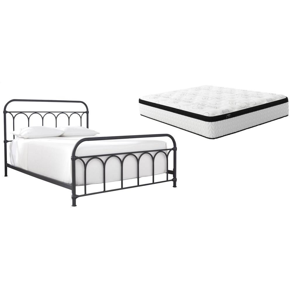 Queen Metal Bed With Mattress