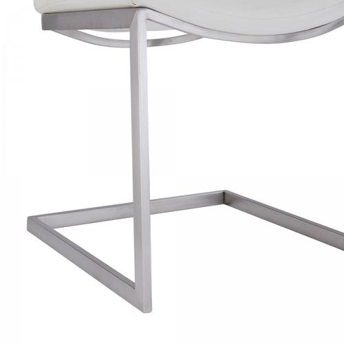 Armen Living - April Contemporary Dining Chair in Brushed Stainless Steel Finish and White Faux Leather - Set of 2