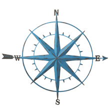 Distressed Blue Compass Wall Decor with Arrow