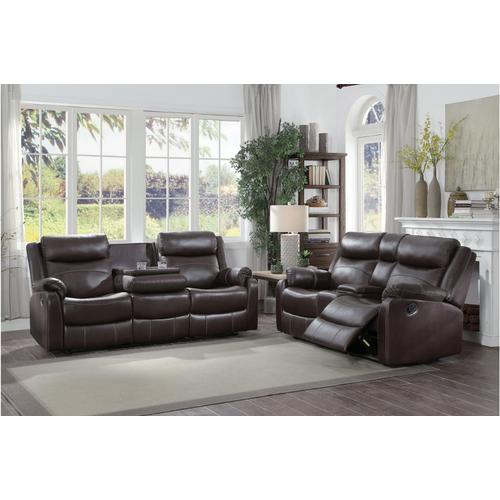 Double Lay Flat Reclining Love Seat with Center Console