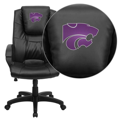 Kansas State University Wildcats Embroidered Black Leather Executive Office Chair