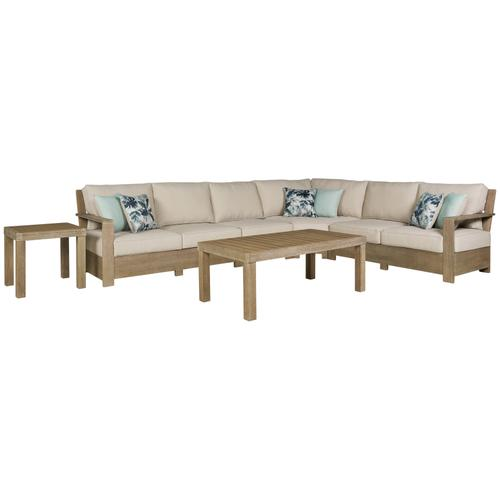 Ashley - 4-piece Outdoor Sectional With Coffee Table and End Table