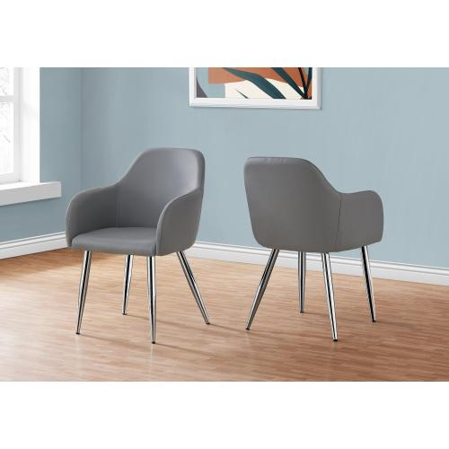 """DINING CHAIR - 2PCS / 33""""H / GREY LEATHER-LOOK / CHROME"""