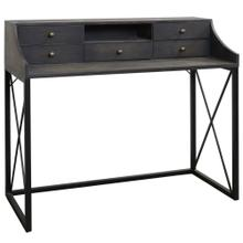 DRIFTWOOD DESK  38in X 44in  Gray 5 Drawer Desk with a Traditional Black Steel Base