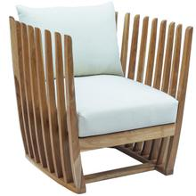 Throne Teak Lounge Chair w/off-white cushion