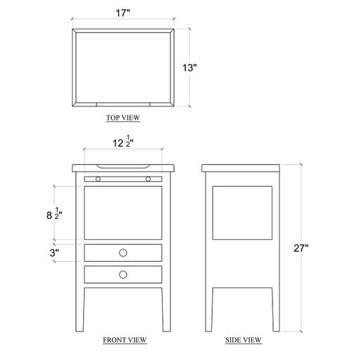 Gallery - Eton 2 Drawer Side Table w/ Pull Out Shelf