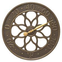 "Medallion 18"" Indoor Outdoor Wall Clock - French Bronze"