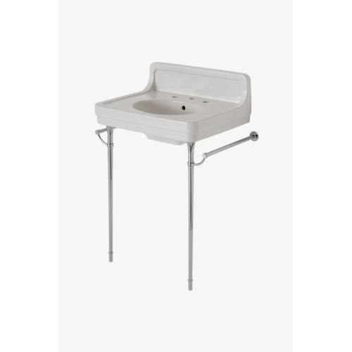 """Alden Metal Round Two Leg Single Washstand for Sink with Backsplash 5 13/16"""" x 18 7/16"""" x 29 1/2"""" in Chrome"""