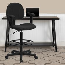 View Product - Black Patterned Fabric Drafting Chair with Adjustable Arms (Cylinders: 22.5''-27''H or 26''-30.5''H)