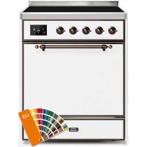 Majestic II 30 Inch Electric Freestanding Range in Custom RAL Color with Bronze Trim