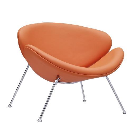 Nutshell Upholstered Vinyl Lounge Chair in Orange