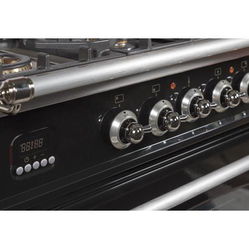 Nostalgie 30 Inch Gas Liquid Propane Freestanding Range in Glossy Black with Chrome Trim