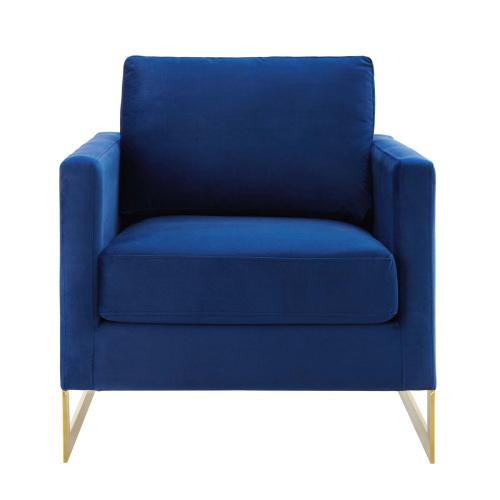 Modway - Posse Performance Velvet Accent Chair in Gold Navy