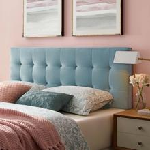 View Product - Lily Biscuit Tufted Full Performance Velvet Headboard in Light Blue