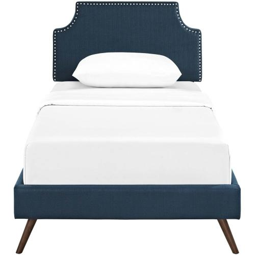 Corene Twin Fabric Platform Bed with Round Splayed Legs in Azure