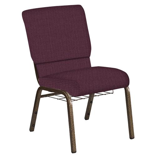 Flash Furniture - 18.5''W Church Chair in Interweave Amethyst Fabric with Book Rack - Gold Vein Frame