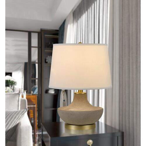 150W 3 Way Almelo Ceramic Table Lamp With Taper Drum Linen Hardback Shade