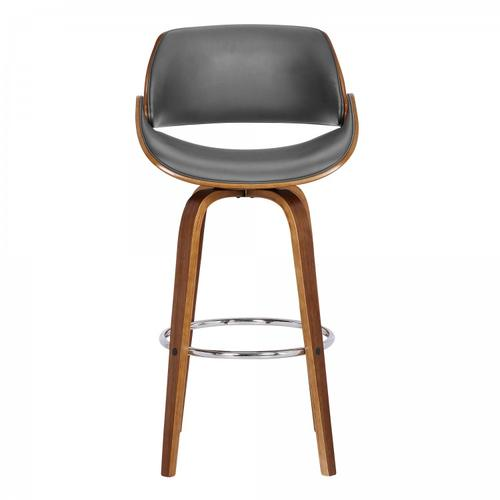 """Armen Living - Mona Contemporary 26"""" Counter Height Swivel Barstool in Walnut Wood Finish and Grey Faux Leather"""